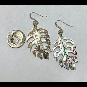 Jewelry - Mother of pearl tropical leaf earrings